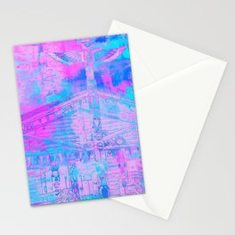 Totem Cabin Abstract - Hot Pink & Turquoise Stationery Cards