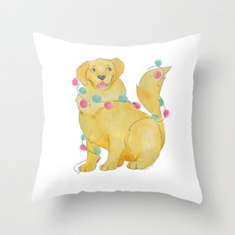 Happy Pawlidays Festive Golden Throw Pillow
