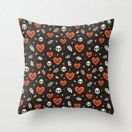 I Heart Halloween Pattern (Black) Throw Pillow