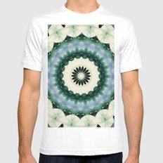 White Flower and Cerulean Blue Mandala White Mens Fitted Tee MEDIUM