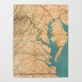 Vintage Map of Virginia and The Chesapeake Bay (1862) Poster