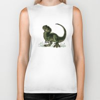 trex Biker Tanks featuring Baby T-Rex by River Dragon Art