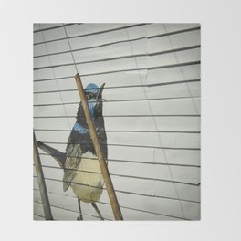 Power lines and bird painting Throw Blanket
