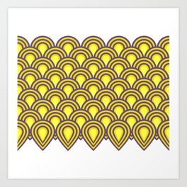 retro sixties inspired fan pattern in yellow and violet Art Print