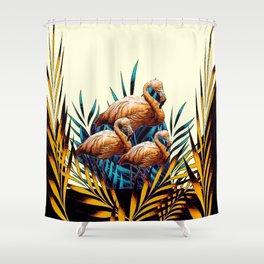 Decorative Tropical Deco Florida Flamingos Black-Cream Shower Curtain