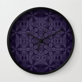 Dark Purple Delicate Flowers Wall Clock