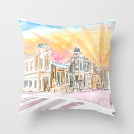 Rodeo Drive Scene Beverly Hills Los Angeles Throw Pillow