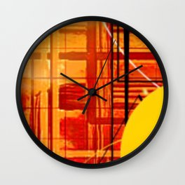 Yellow Black and Orange Sticker Abstract Wall Clock