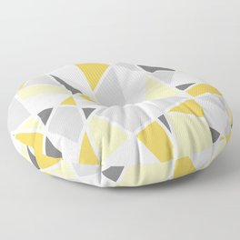 Geometric Pattern in yellow and gray Floor Pillow
