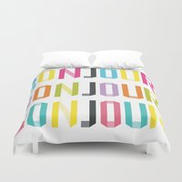 bonjour Duvet Covers featuring Bonjour!  by Yasmin Millin - A Miss in Swiss