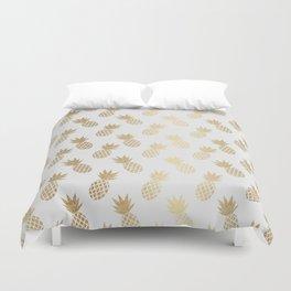 Gold Pineapple Pattern Duvet Cover