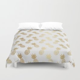 Gold Pineapple Pattern Duvet Cover