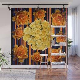 GOLDEN & YELLOW ROSES DARK STRIPES ART Wall Mural