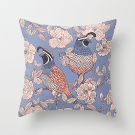 Quail and Wild Roses Throw Pillow