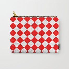 Diamonds - White and Red Carry-All Pouch