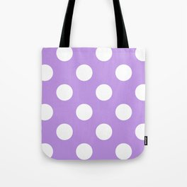 Large Polka Dots - White on Light Violet Tote Bag