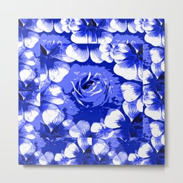 Roses Blue and White Toile #2 Metal Print