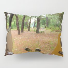 Camper Van and Acoustic Guitar - Travel Photography Pillow Sham