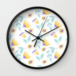 yellow flowers and teal leaves Wall Clock