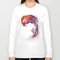 surfing Long Sleeve T-shirts featuring Space Surfing by nicebleed