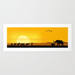 Morning in the African savannah Art Print