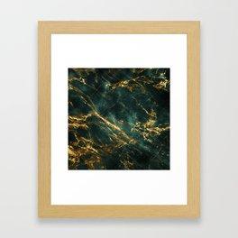 Lavish Velvety Green Marble With Ornate Gold Veins Framed Art Print