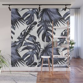 Classic Palm Leaves Navy Blue Wall Mural