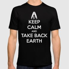 Keep Calm and Take Back Earth MEDIUM Black Mens Fitted Tee
