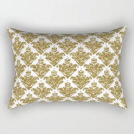 Faux White and Gold Glitter Small Damask Rectangular Pillow