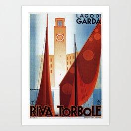 Art deco vintage Italian travel Riva Torbole Lake Garda Art Print