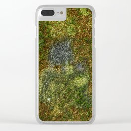 Old stone wall with moss Clear iPhone Case