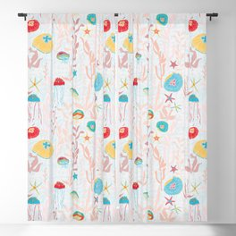 Jellyfish Garden repeat pattern Blackout Curtain