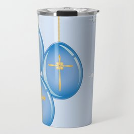 Shiny blue hanging eggs decorated with gold crosses Travel Mug