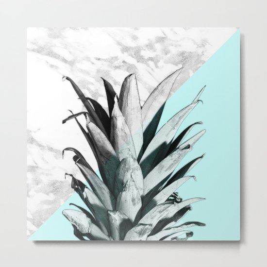 Pineapple Top Marble Pastel Blue Metal Print