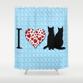I Heart Cats Shower Curtain