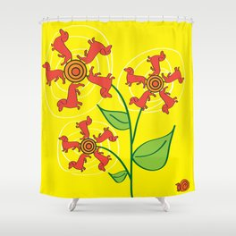 Doxie Flower Shower Curtain