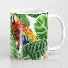 tropical leaves macaw pattern Coffee Mug
