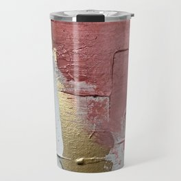 Darling: a minimal, abstract mixed-media piece in pink, white, and gold by Alyssa Hamilton Art Travel Mug