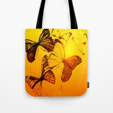 Fly fly butterfly! - Butterflies on a orange background with sunlight #society6 #buyart Tote Bag