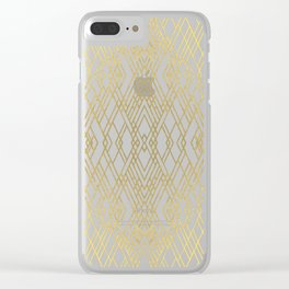 Art Deco Grey Gold Clear iPhone Case