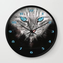 Silver Abstract Cat Face with blue Eyes Wall Clock