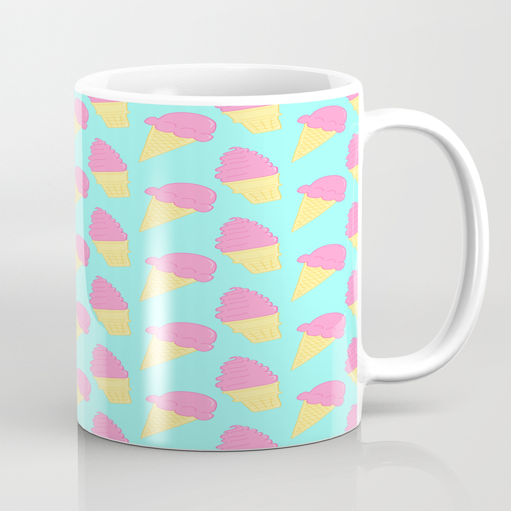 Pink Ice Cream On Blue Tea Cup by Thepastelwitch MUG8674849