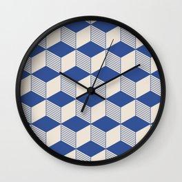 Isometric Cubes Blue Wall Clock