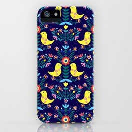 Folk Birds Blue iPhone Case