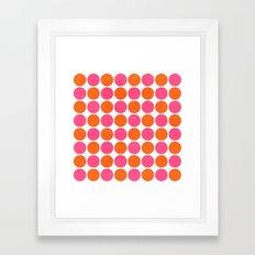 orange and hot pink dots Framed Art Print