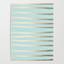 Simply Drawn Stripes White Gold Sands on Succulent Blue Poster