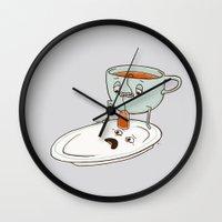 tea Wall Clocks featuring Tea Baggin' by Phil Jones