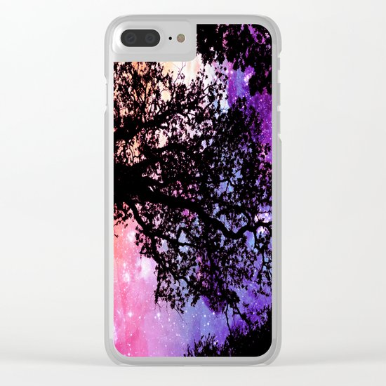 Black Trees Pink Purple Space Clear iPhone Case