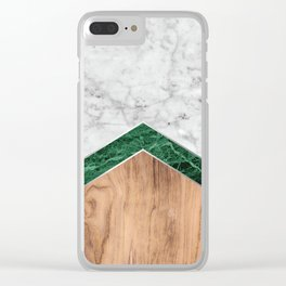 Arrows - White Marble, Green Granite & Wood #941 Clear iPhone Case