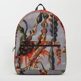 Flowering Red Coral Tree Tropical Flowers still life painting Backpack